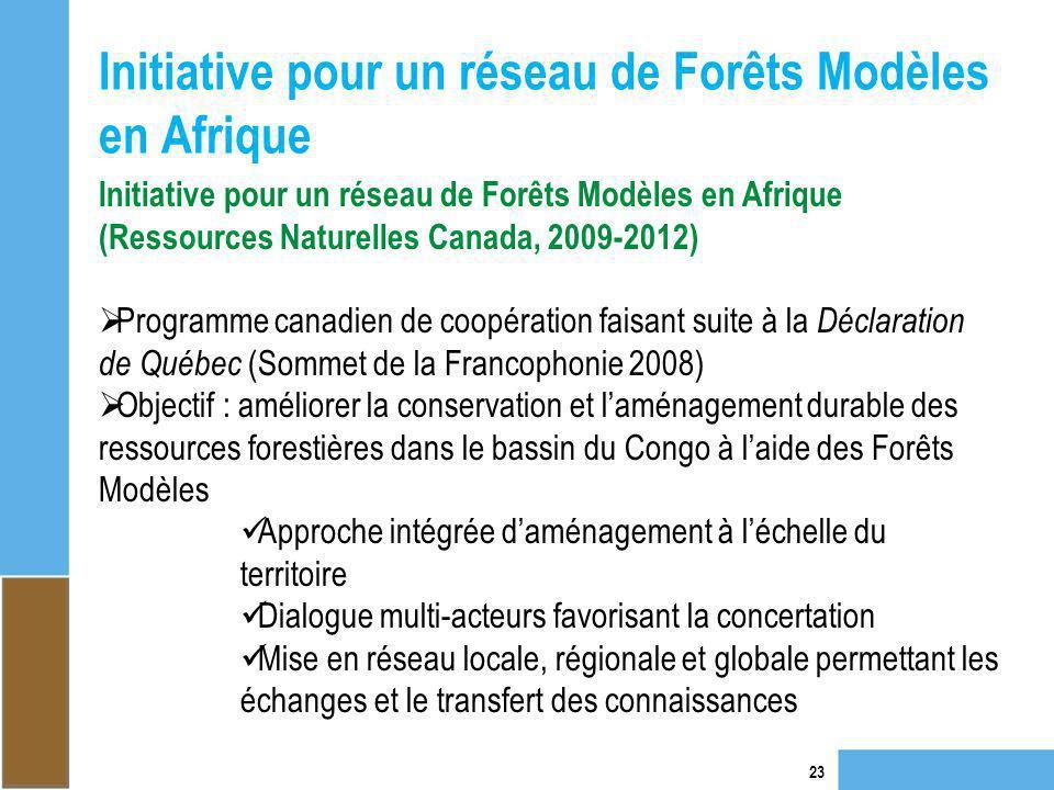 Initiative pour un réseau de Forêts Modèles en Afrique 23 Initiative pour un réseau de Forêts Modèles en Afrique (Ressources Naturelles Canada, 2009-2