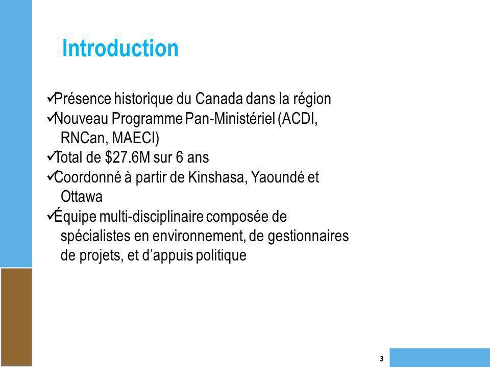 Introduction 3 Présence historique du Canada dans la région Nouveau Programme Pan-Ministériel (ACDI, RNCan, MAECI) Total de $27.6M sur 6 ans Coordonné