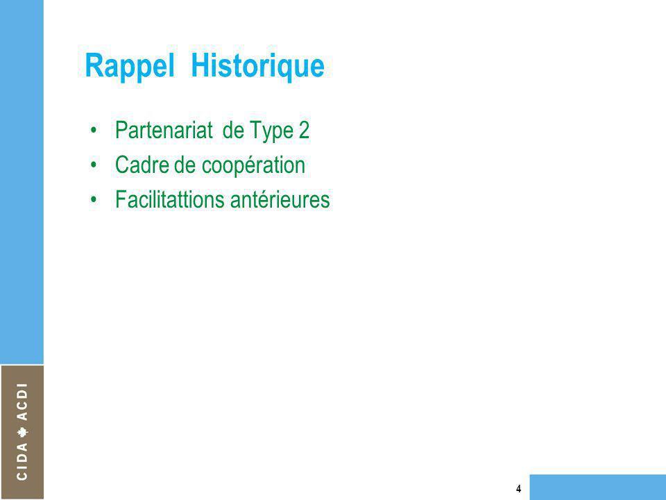 Rappel Historique Partenariat de Type 2 Cadre de coopération Facilitattions antérieures 4