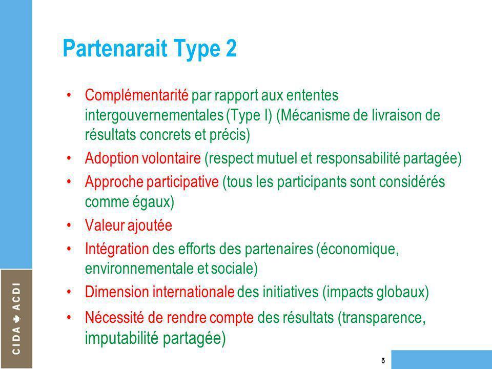 Partenarait Type 2 Complémentarité par rapport aux ententes intergouvernementales (Type I) (Mécanisme de livraison de résultats concrets et précis) Ad