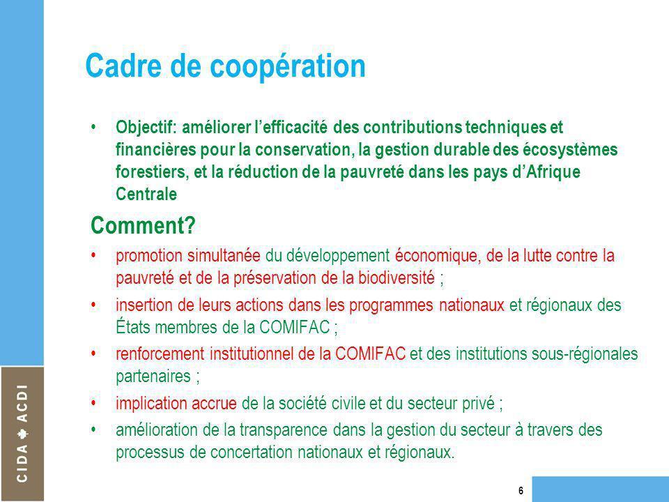 Cadre de coopération Objectif: améliorer lefficacité des contributions techniques et financières pour la conservation, la gestion durable des écosystè