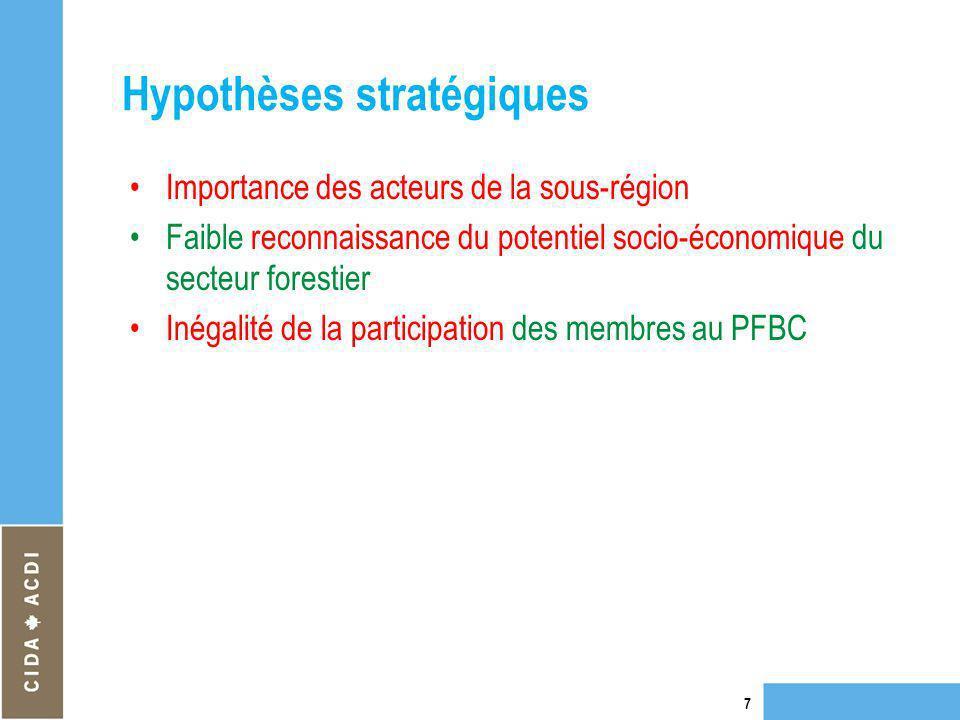 Hypothèses stratégiques Importance des acteurs de la sous-région Faible reconnaissance du potentiel socio-économique du secteur forestier Inégalité de