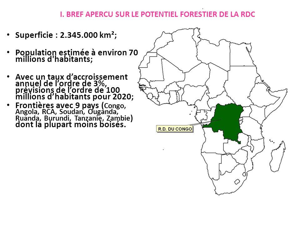I. BREF APERCU SUR LE POTENTIEL FORESTIER DE LA RDC Superficie : 2.345.000 km²; Population estimée à environ 70 millions d'habitants; Avec un taux dac