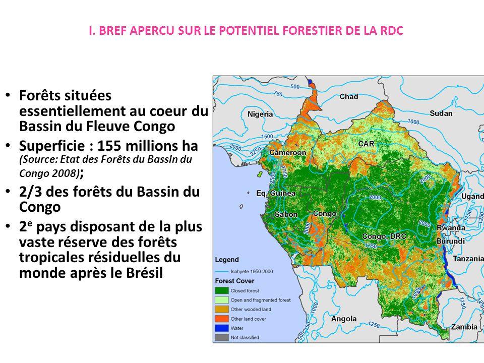 Forêts situées essentiellement au coeur du Bassin du Fleuve Congo Superficie : 155 millions ha (Source: Etat des Forêts du Bassin du Congo 2008) ; 2/3 des forêts du Bassin du Congo 2 e pays disposant de la plus vaste réserve des forêts tropicales résiduelles du monde après le Brésil I.
