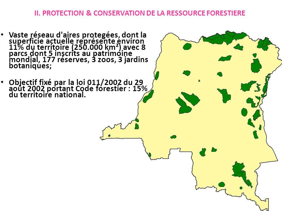 II. PROTECTION & CONSERVATION DE LA RESSOURCE FORESTIERE Vaste réseau d'aires protegées, dont la superficie actuelle représente environ 11% du territo