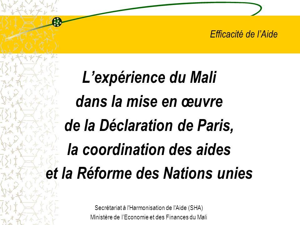 Efficacité de lAide Lexpérience du Mali dans la mise en œuvre de la Déclaration de Paris, la coordination des aides et la Réforme des Nations unies Secrétariat à l Harmonisation de l Aide (SHA) Ministère de lEconomie et des Finances du Mali