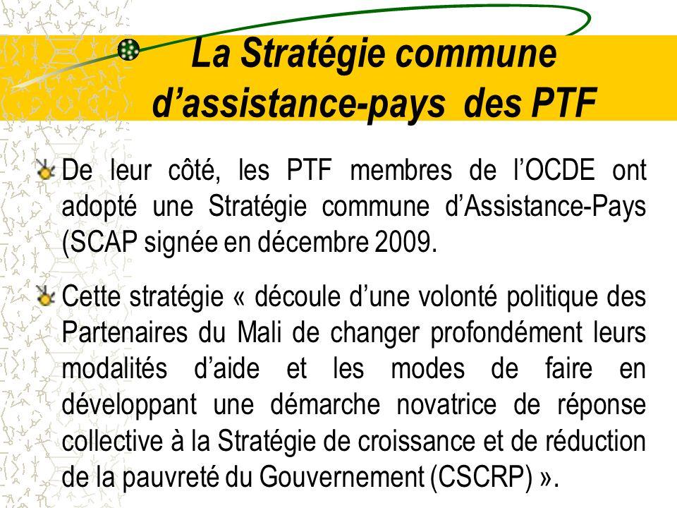 La Stratégie commune dassistance-pays des PTF De leur côté, les PTF membres de lOCDE ont adopté une Stratégie commune dAssistance-Pays (SCAP signée en décembre 2009.