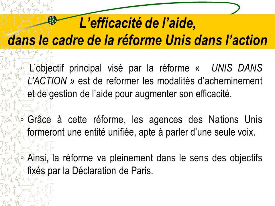 Lefficacité de laide, dans le cadre de la réforme Unis dans laction Lobjectif principal visé par la réforme « UNIS DANS LACTION » est de reformer les modalités dacheminement et de gestion de laide pour augmenter son efficacité.