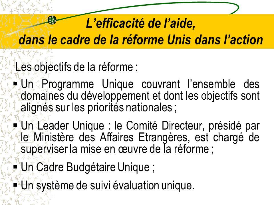 Lefficacité de laide, dans le cadre de la réforme Unis dans laction Les objectifs de la réforme : Un Programme Unique couvrant lensemble des domaines