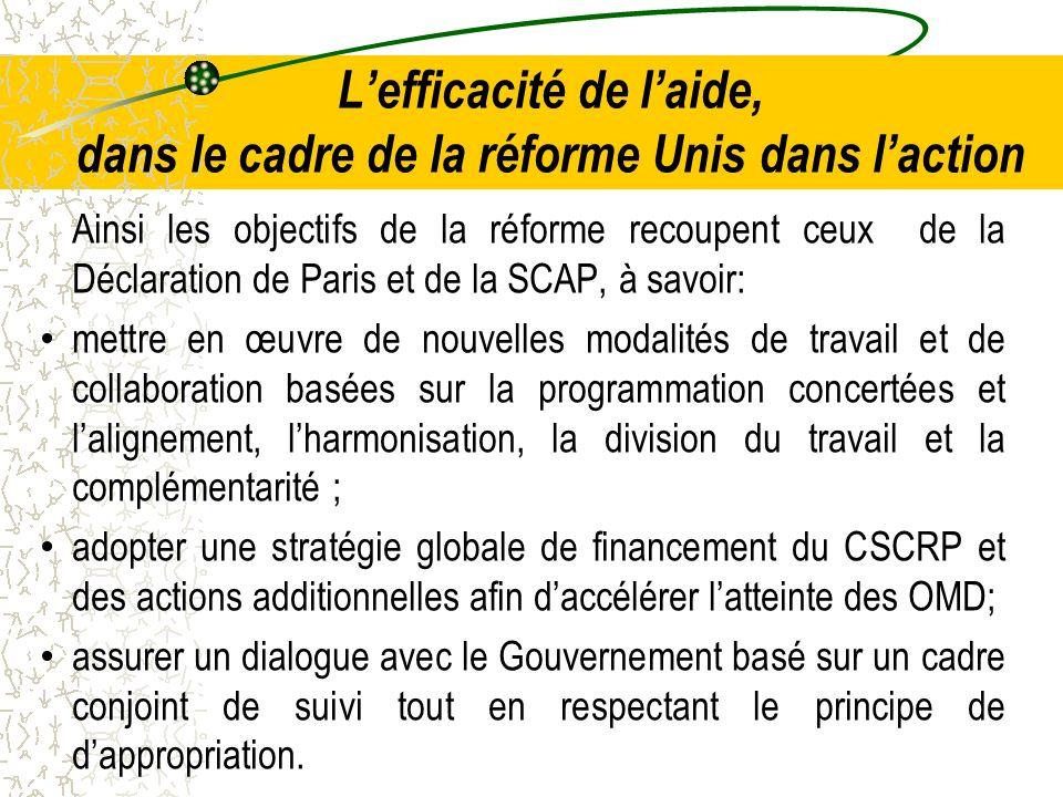 Lefficacité de laide, dans le cadre de la réforme Unis dans laction Ainsi les objectifs de la réforme recoupent ceux de la Déclaration de Paris et de