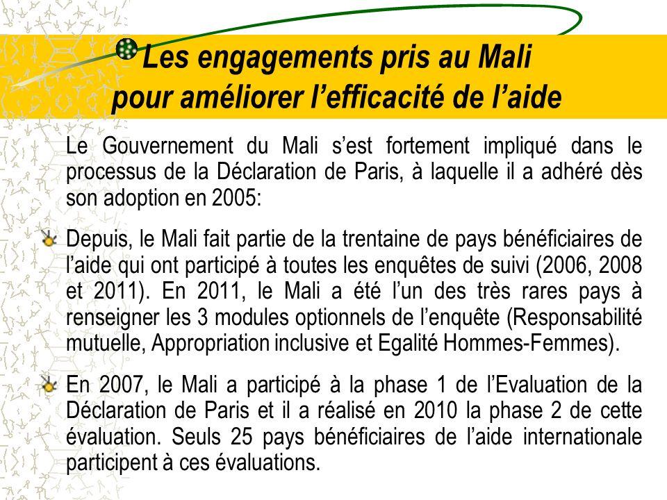 Les engagements pris au Mali pour améliorer lefficacité de laide Le Gouvernement du Mali sest fortement impliqué dans le processus de la Déclaration d