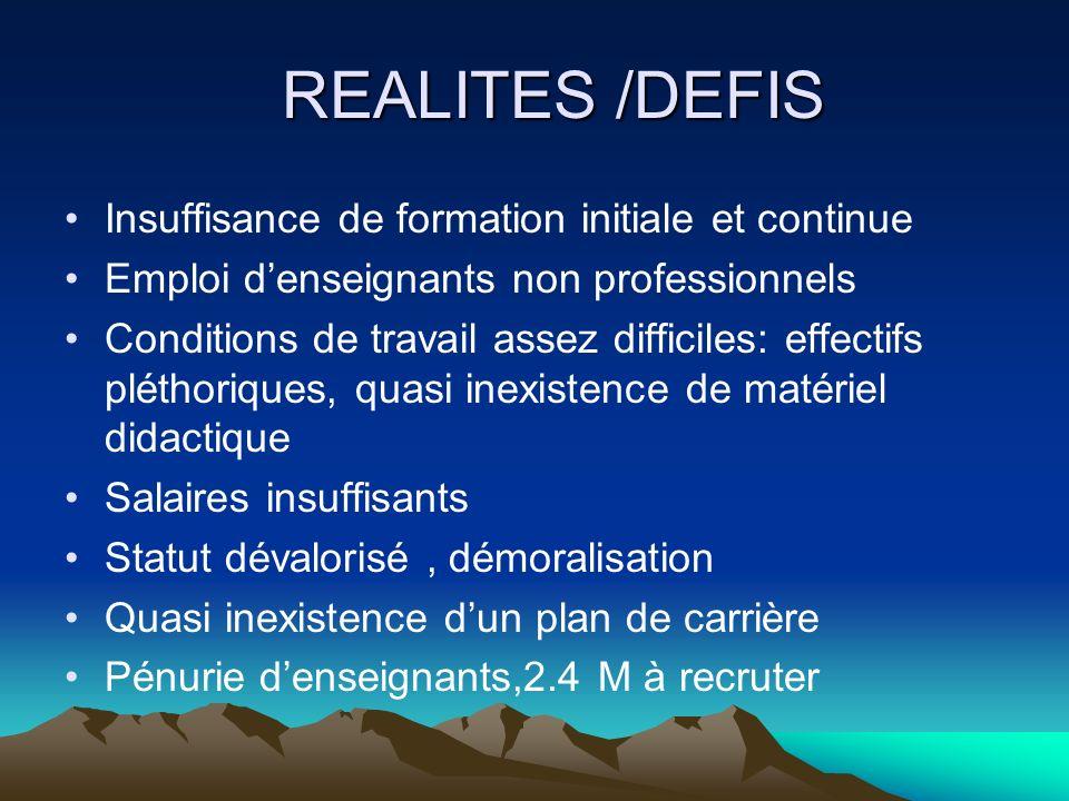 REALITES /DEFIS REALITES /DEFIS Insuffisance de formation initiale et continue Emploi denseignants non professionnels Conditions de travail assez diff
