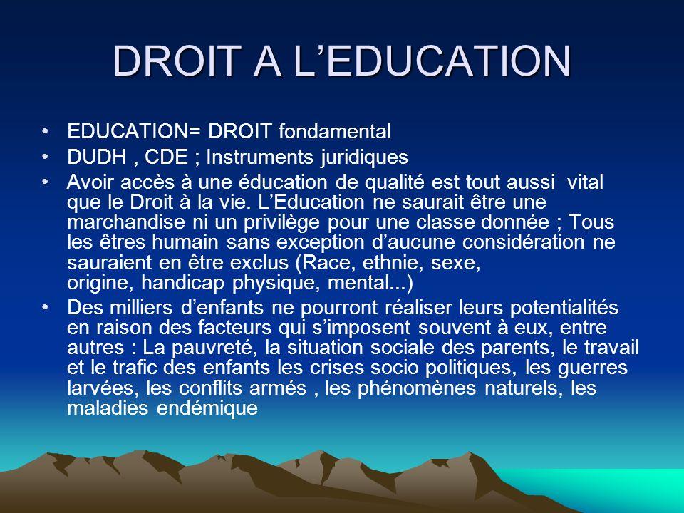 DROIT A LEDUCATION EDUCATION= DROIT fondamental DUDH, CDE ; Instruments juridiques Avoir accès à une éducation de qualité est tout aussi vital que le