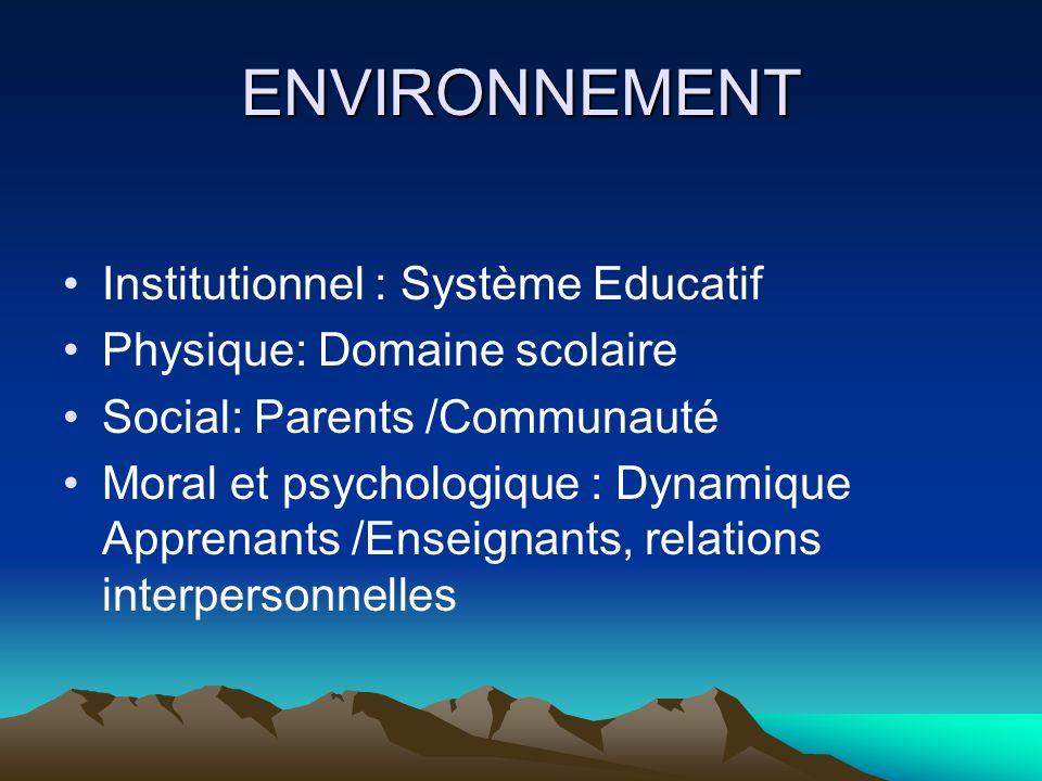 ENVIRONNEMENT Institutionnel : Système Educatif Physique: Domaine scolaire Social: Parents /Communauté Moral et psychologique : Dynamique Apprenants /