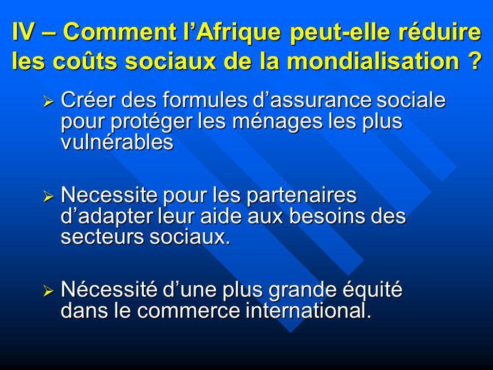 IV – Comment lAfrique peut-elle réduire les coûts sociaux de la mondialisation ? Créer des formules dassurance sociale pour protéger les ménages les p