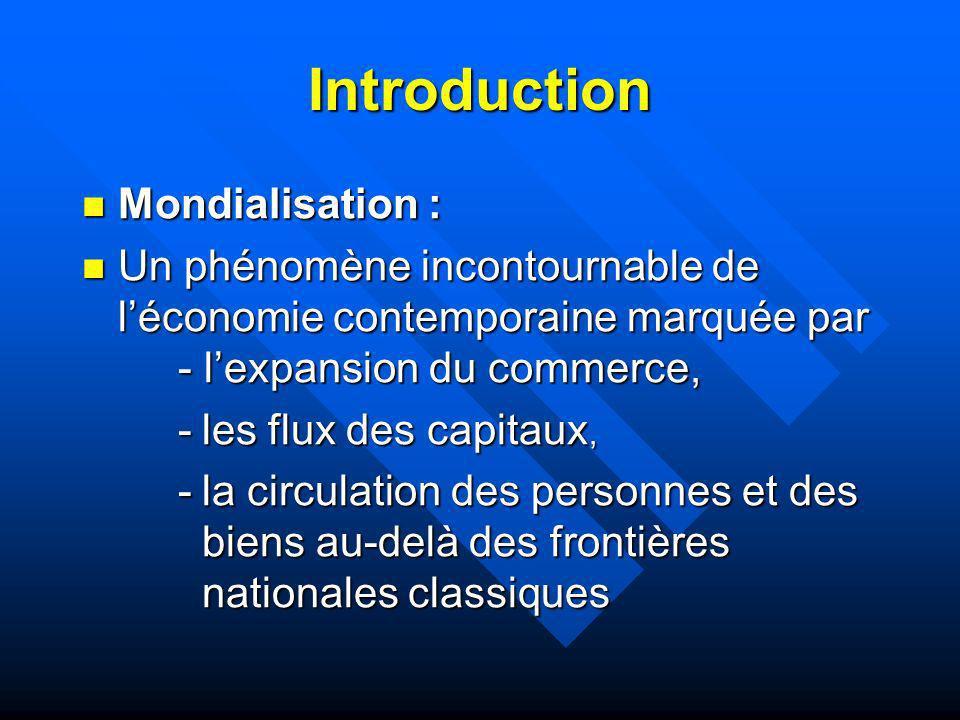 Introduction Mondialisation : Mondialisation : Un phénomène incontournable de léconomie contemporaine marquée par - lexpansion du commerce, Un phénomè