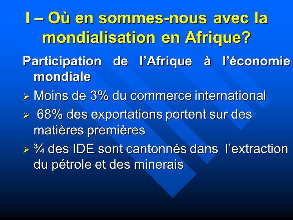 I – Où en sommes-nous avec la mondialisation en Afrique? Participation de lAfrique à léconomie mondiale Moins de 3% du commerce international Moins de
