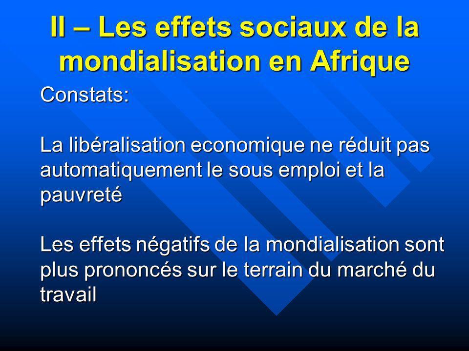 II – Les effets sociaux de la mondialisation en Afrique Constats: La libéralisation economique ne réduit pas automatiquement le sous emploi et la pauv
