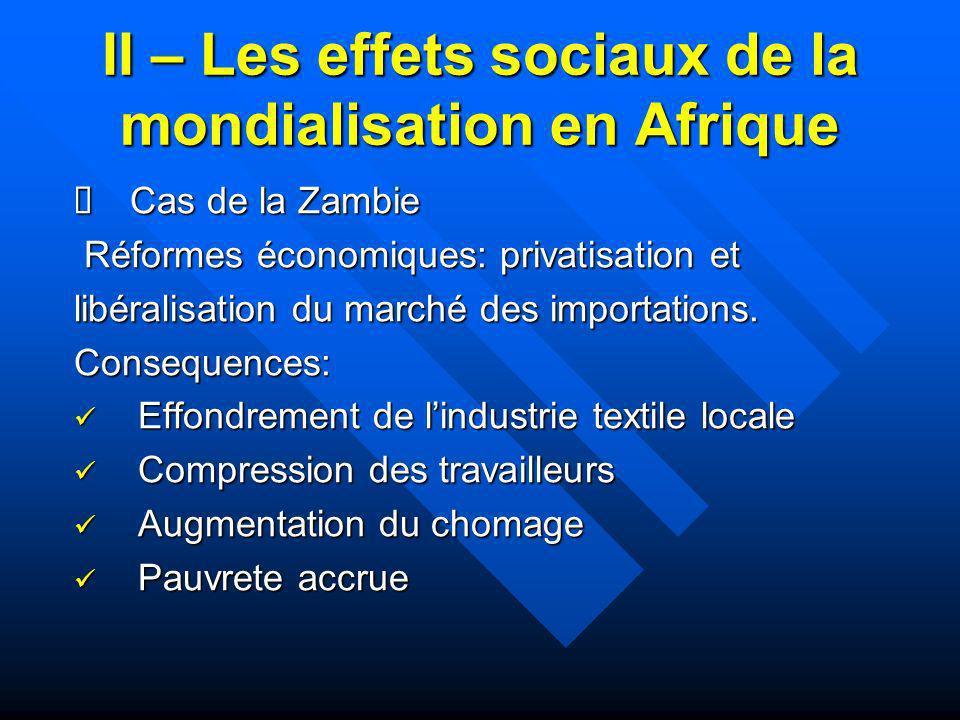 II – Les effets sociaux de la mondialisation en Afrique Cas de la Zambie Cas de la Zambie Réformes économiques: privatisation et Réformes économiques: