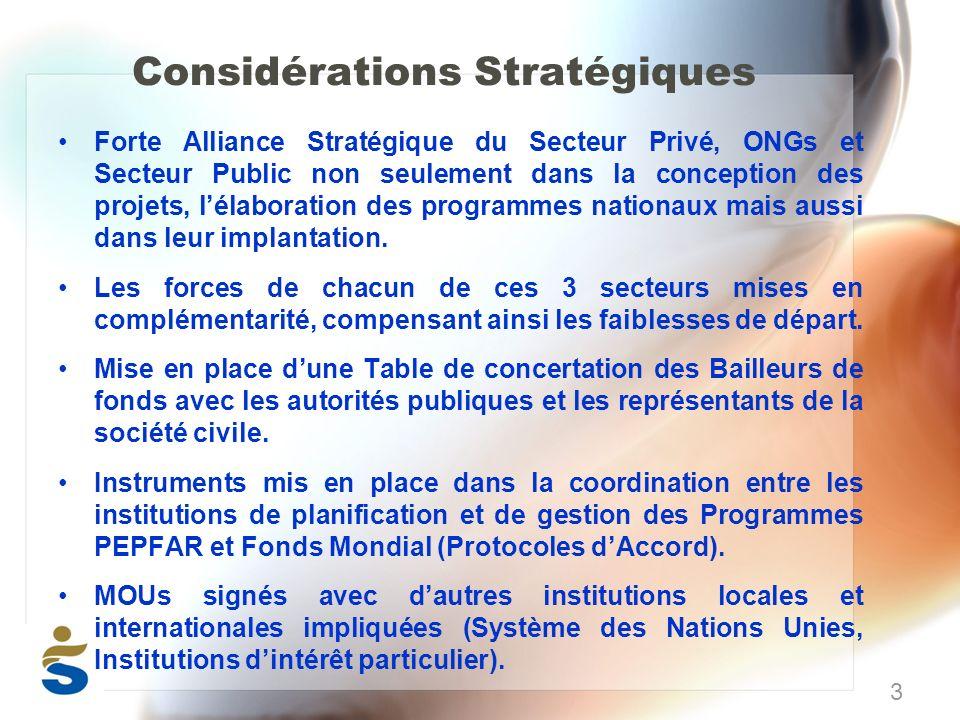 Considérations Stratégiques Forte Alliance Stratégique du Secteur Privé, ONGs et Secteur Public non seulement dans la conception des projets, lélaboration des programmes nationaux mais aussi dans leur implantation.