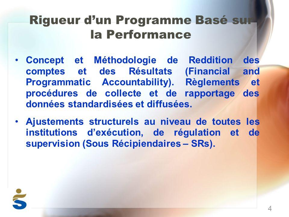 Rigueur dun Programme Basé sur la Performance Concept et Méthodologie de Reddition des comptes et des Résultats (Financial and Programmatic Accountability).