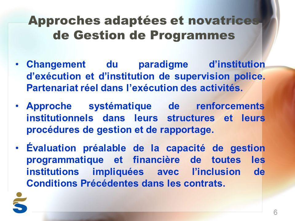 Approches adaptées et novatrices de Gestion de Programmes Changement du paradigme dinstitution dexécution et dinstitution de supervision police.