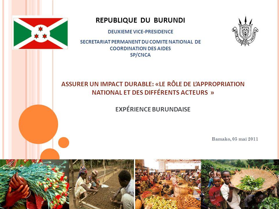 ASSURER UN IMPACT DURABLE: «LE RÔLE DE LAPPROPRIATION NATIONAL ET DES DIFFÉRENTS ACTEURS » EXPÉRIENCE BURUNDAISE Bamako, 05 mai 2011 REPUBLIQUE DU BUR