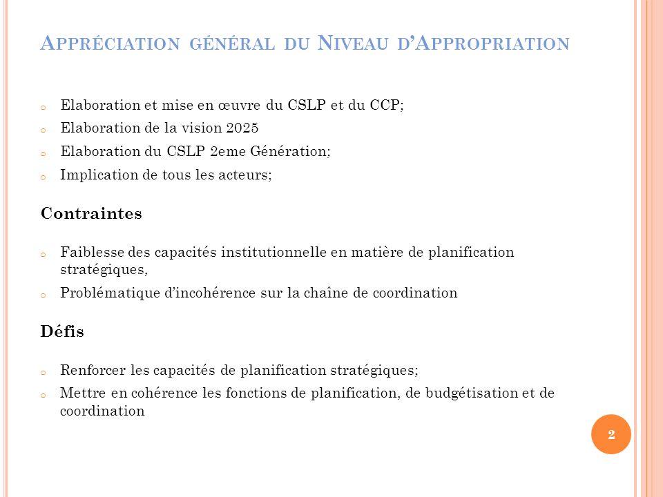 A PPRÉCIATION GÉNÉRAL DU N IVEAU D A PPROPRIATION o Elaboration et mise en œuvre du CSLP et du CCP; o Elaboration de la vision 2025 o Elaboration du C