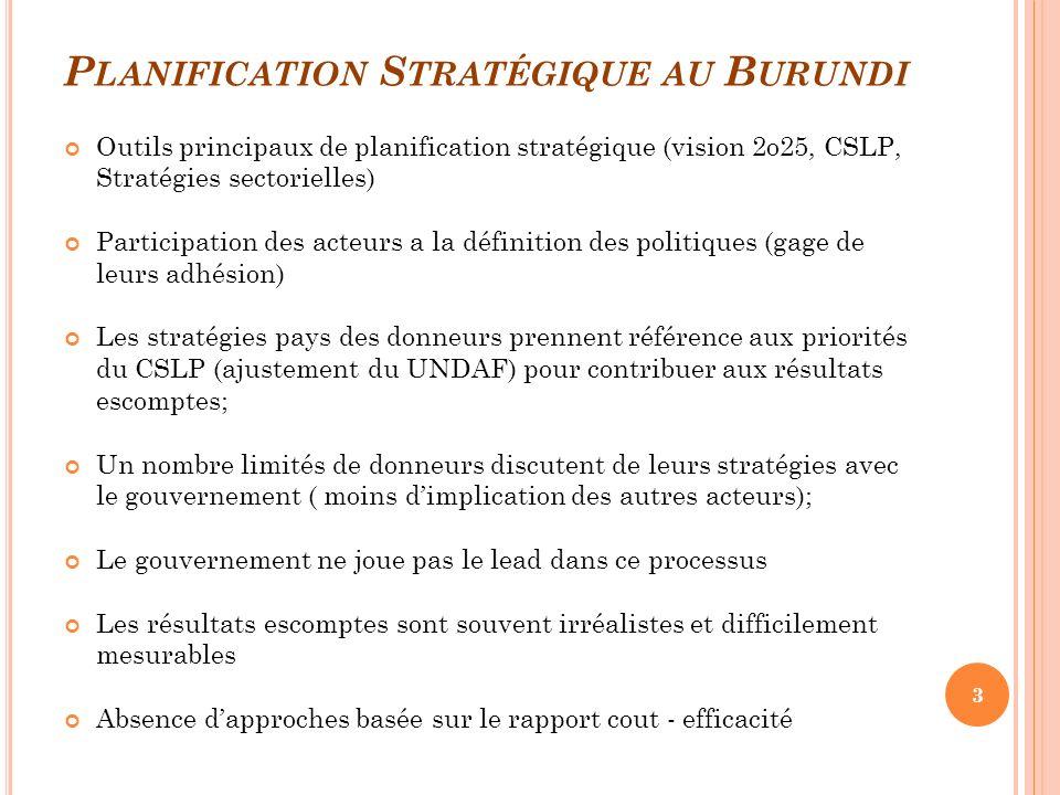 P LANIFICATION S TRATÉGIQUE AU B URUNDI Outils principaux de planification stratégique (vision 2o25, CSLP, Stratégies sectorielles) Participation des