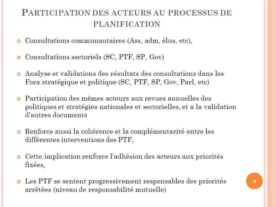 P ARTICIPATION DES ACTEURS AU PROCESSUS DE PLANIFICATION Consultations communautaires (Ass, adm, élus, etc), Consultations sectoriels (SC, PTF, SP, Go