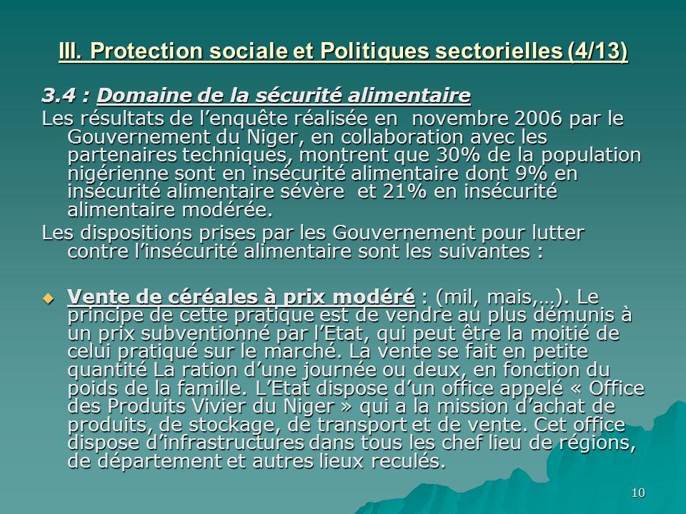 10 III. Protection sociale et Politiques sectorielles (4/13) 3.4 : Domaine de la sécurité alimentaire Les résultats de lenquête réalisée en novembre 2