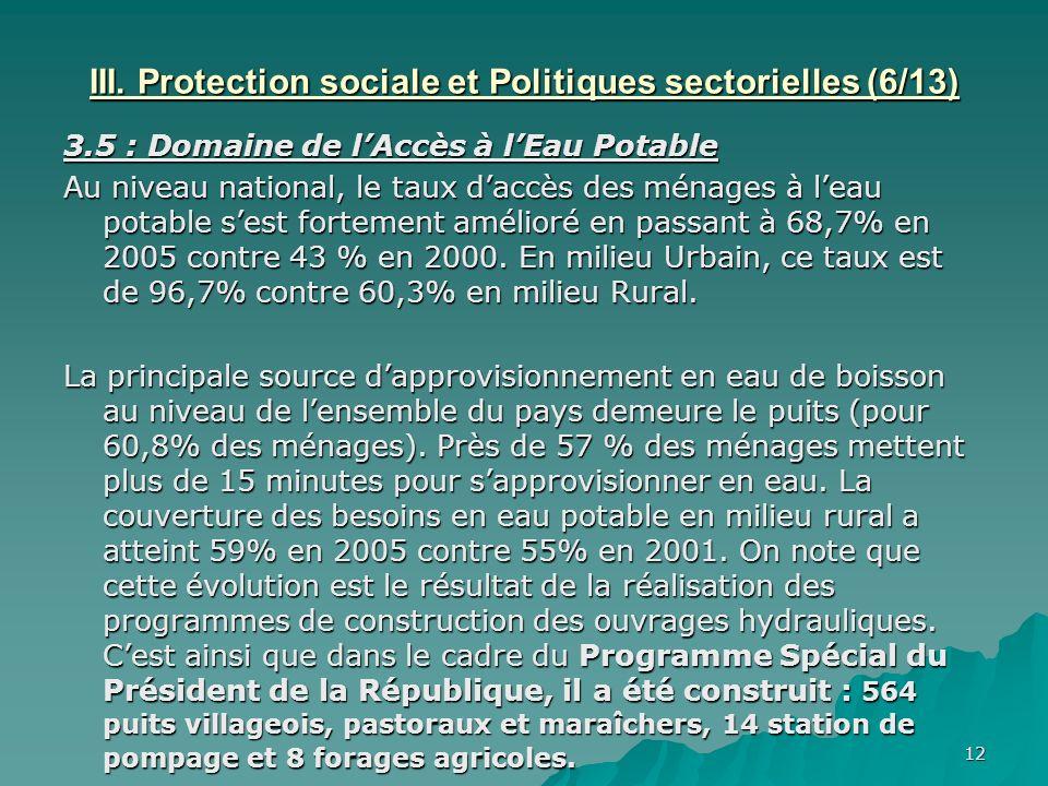 12 III. Protection sociale et Politiques sectorielles (6/13) 3.5 : Domaine de lAccès à lEau Potable Au niveau national, le taux daccès des ménages à l