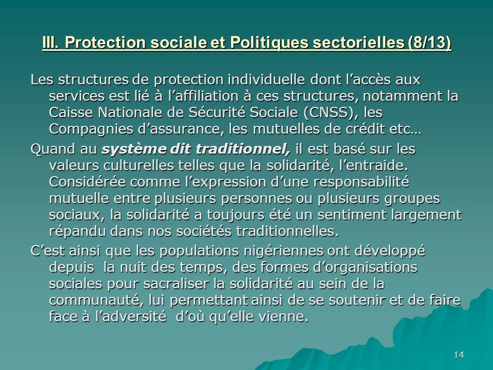 14 III. Protection sociale et Politiques sectorielles (8/13) Les structures de protection individuelle dont laccès aux services est lié à laffiliation