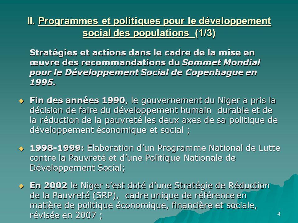 4 II. Programmes et politiques pour le développement social des populations (1/3) Stratégies et actions dans le cadre de la mise en œuvre des recomman