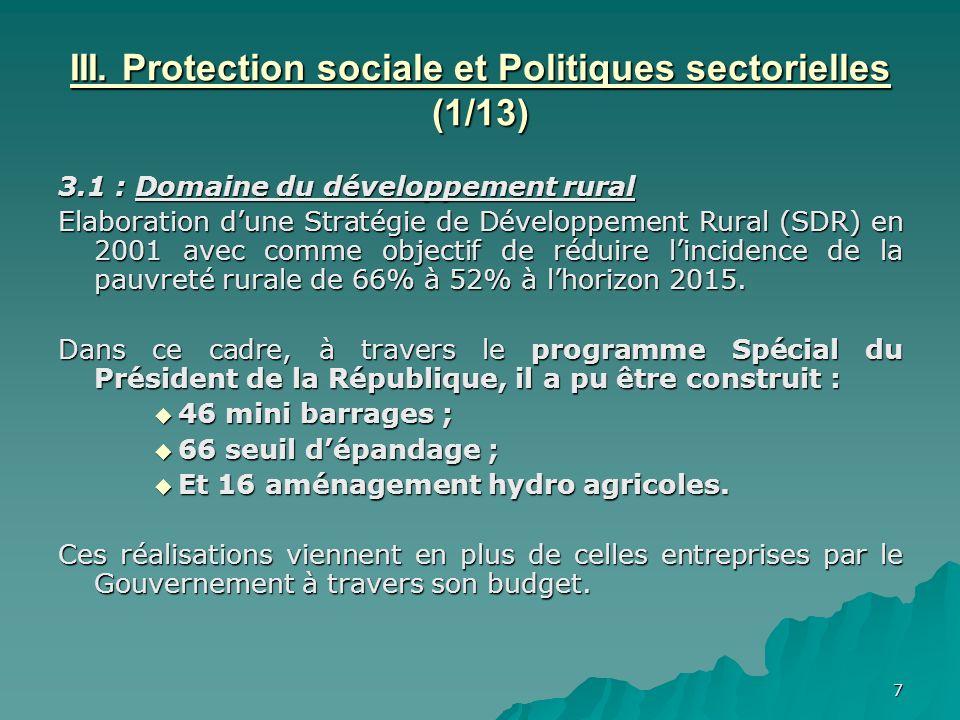 7 III. Protection sociale et Politiques sectorielles (1/13) 3.1 : Domaine du développement rural Elaboration dune Stratégie de Développement Rural (SD