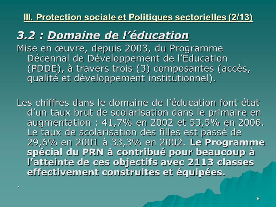 8 III. Protection sociale et Politiques sectorielles (2/13) 3.2 : Domaine de léducation Mise en œuvre, depuis 2003, du Programme Décennal de Développe