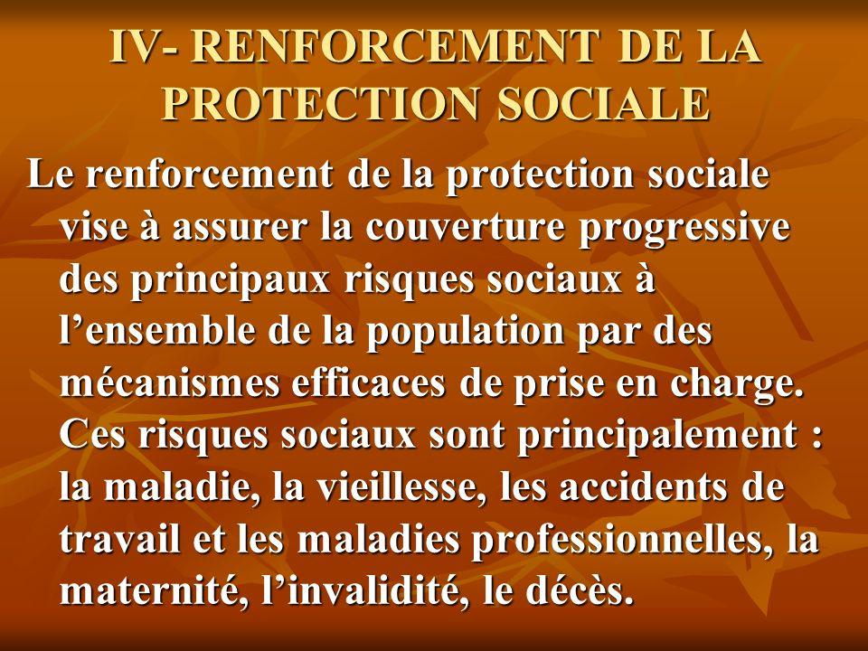 IV- RENFORCEMENT DE LA PROTECTION SOCIALE Le renforcement de la protection sociale vise à assurer la couverture progressive des principaux risques sociaux à lensemble de la population par des mécanismes efficaces de prise en charge.