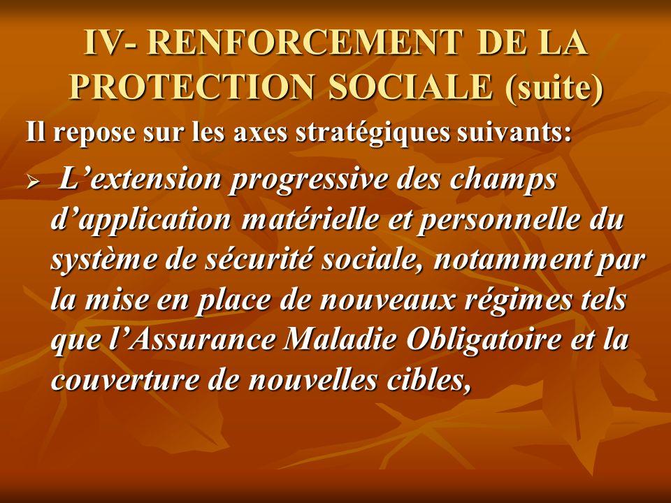 IV- RENFORCEMENT DE LA PROTECTION SOCIALE (suite) Il repose sur les axes stratégiques suivants: Lextension progressive des champs dapplication matérie