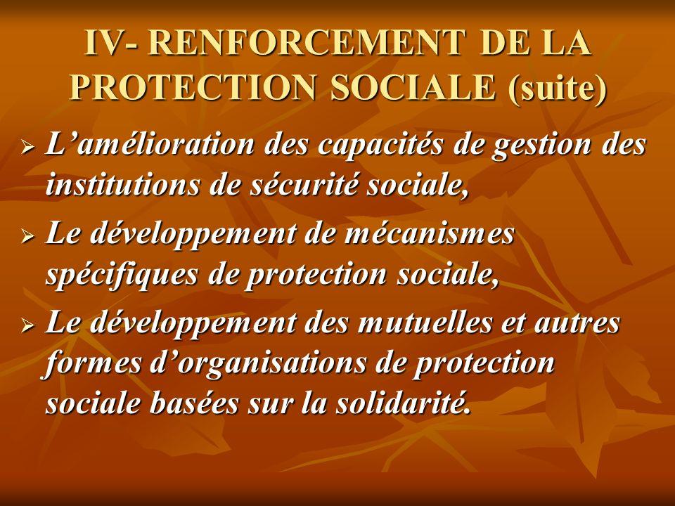 IV- RENFORCEMENT DE LA PROTECTION SOCIALE (suite) Lamélioration des capacités de gestion des institutions de sécurité sociale, Lamélioration des capac