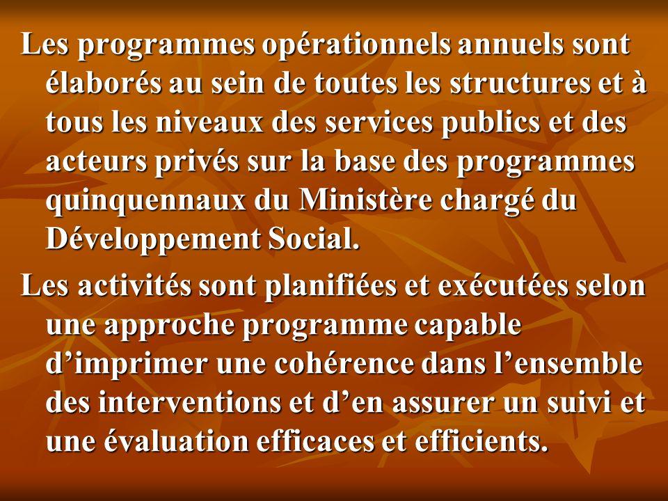 Les programmes opérationnels annuels sont élaborés au sein de toutes les structures et à tous les niveaux des services publics et des acteurs privés sur la base des programmes quinquennaux du Ministère chargé du Développement Social.