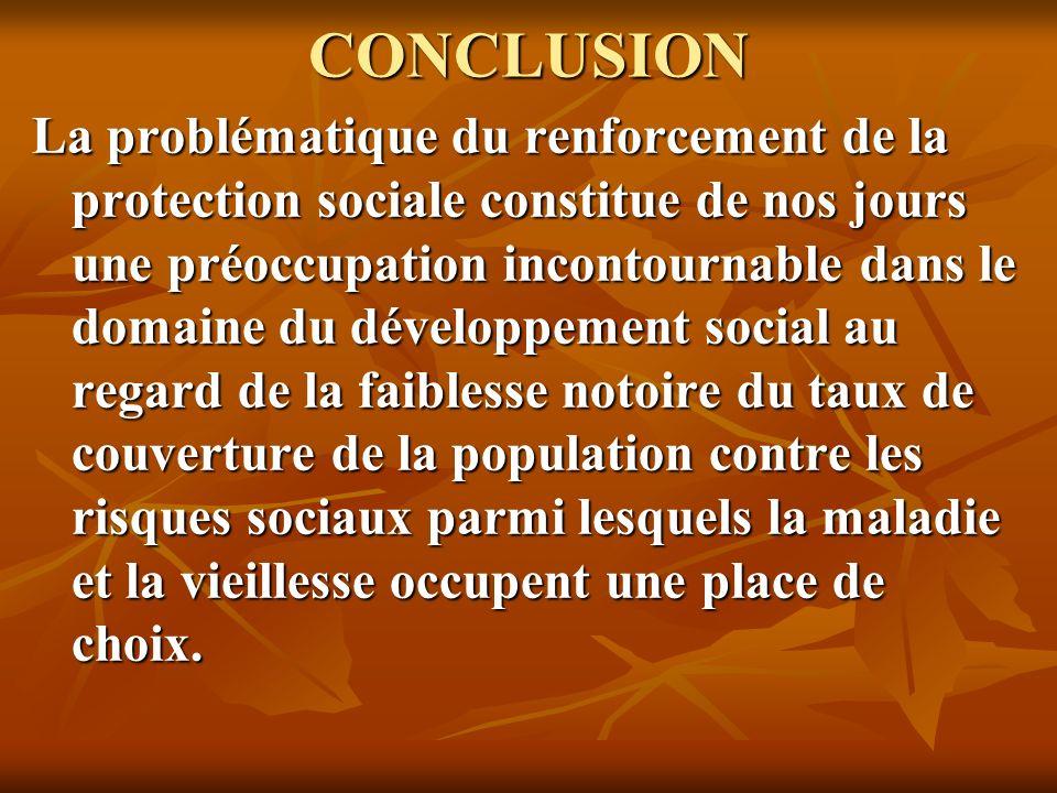 CONCLUSION La problématique du renforcement de la protection sociale constitue de nos jours une préoccupation incontournable dans le domaine du dévelo