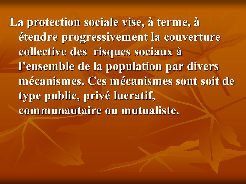 La protection sociale vise, à terme, à étendre progressivement la couverture collective des risques sociaux à lensemble de la population par divers mécanismes.