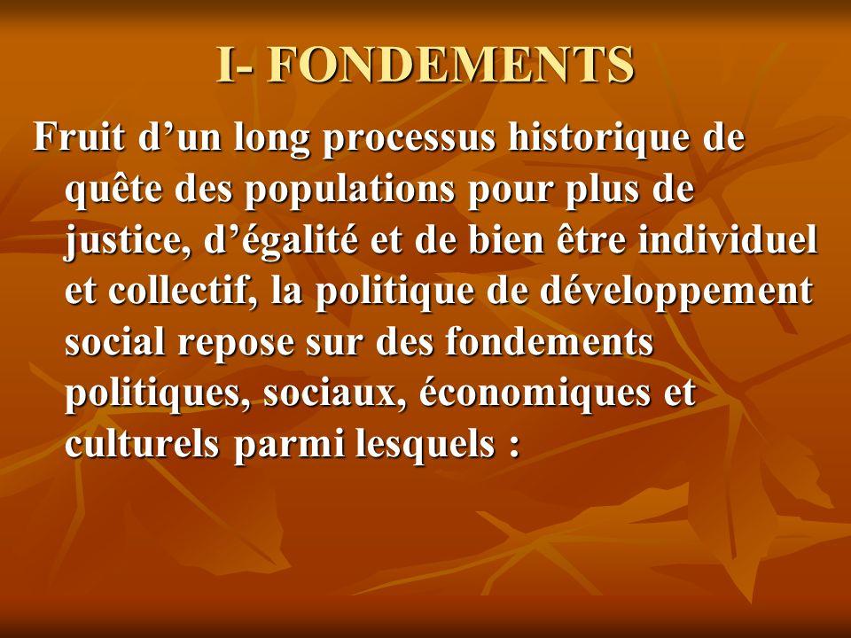 I- FONDEMENTS Fruit dun long processus historique de quête des populations pour plus de justice, dégalité et de bien être individuel et collectif, la politique de développement social repose sur des fondements politiques, sociaux, économiques et culturels parmi lesquels :