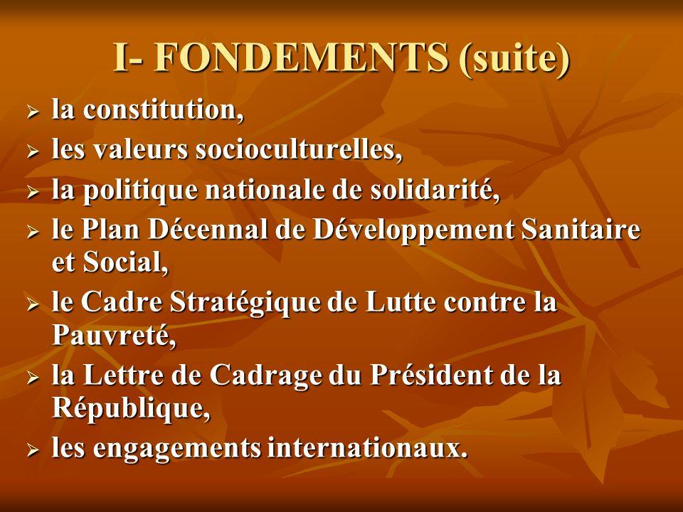 I- FONDEMENTS (suite) la constitution, la constitution, les valeurs socioculturelles, les valeurs socioculturelles, la politique nationale de solidari