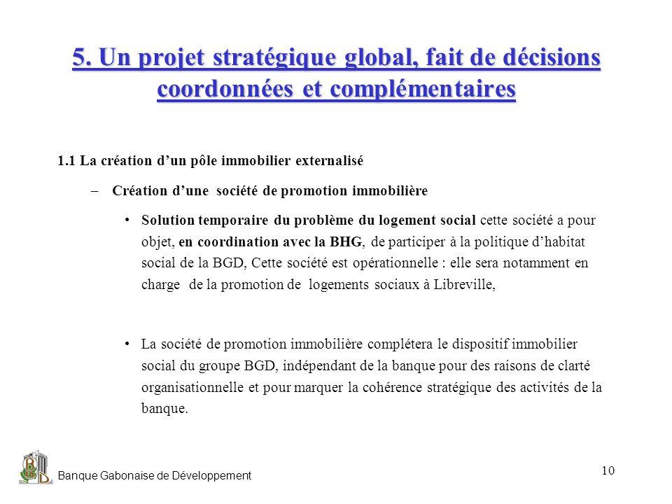 Banque Gabonaise de Développement 10 5. Un projet stratégique global, fait de décisions coordonnées et complémentaires 1.1 La création dun pôle immobi