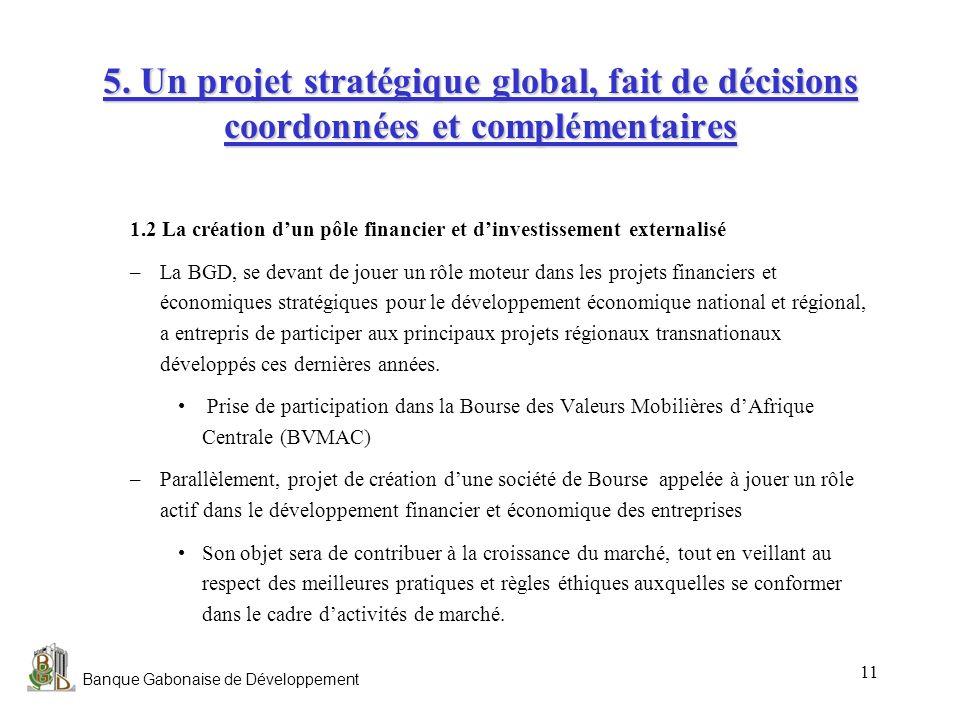 Banque Gabonaise de Développement 11 5. Un projet stratégique global, fait de décisions coordonnées et complémentaires 1.2 La création dun pôle financ