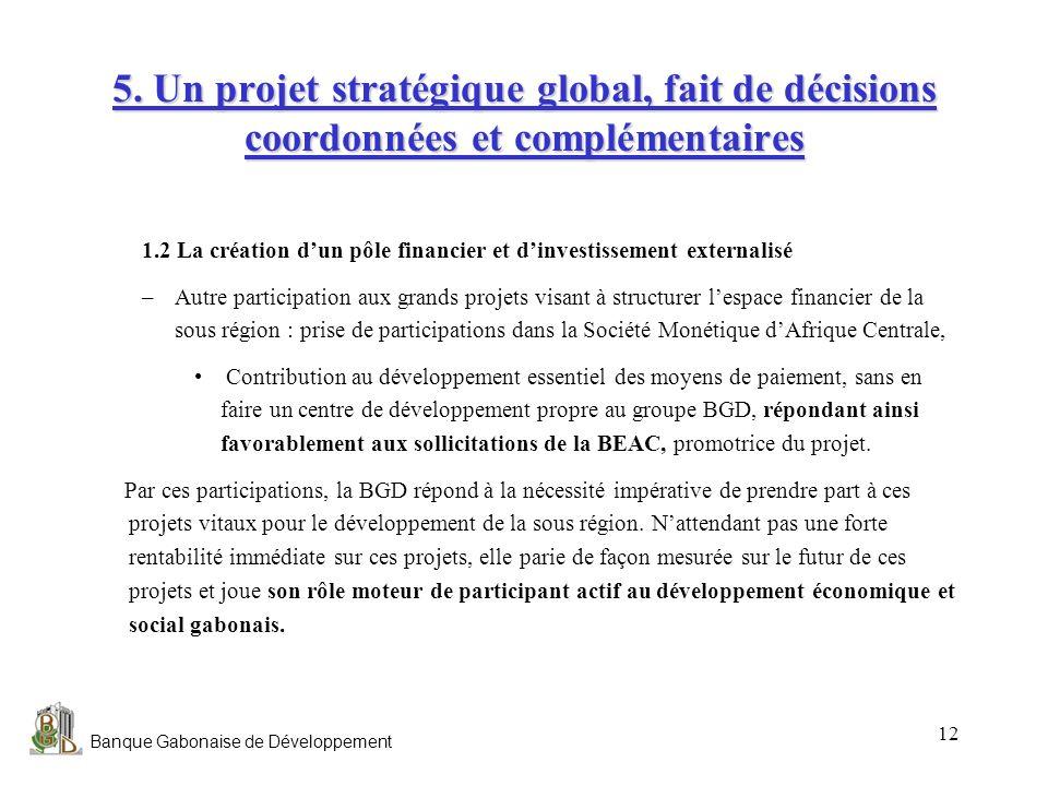 Banque Gabonaise de Développement 12 5. Un projet stratégique global, fait de décisions coordonnées et complémentaires 1.2 La création dun pôle financ