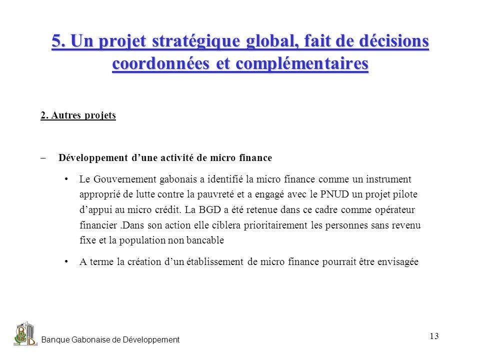 Banque Gabonaise de Développement 13 5. Un projet stratégique global, fait de décisions coordonnées et complémentaires 2. Autres projets –Développemen