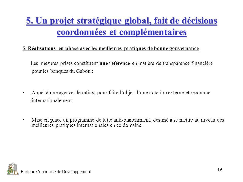Banque Gabonaise de Développement 16 5. Un projet stratégique global, fait de décisions coordonnées et complémentaires 5. Réalisations en phase avec l