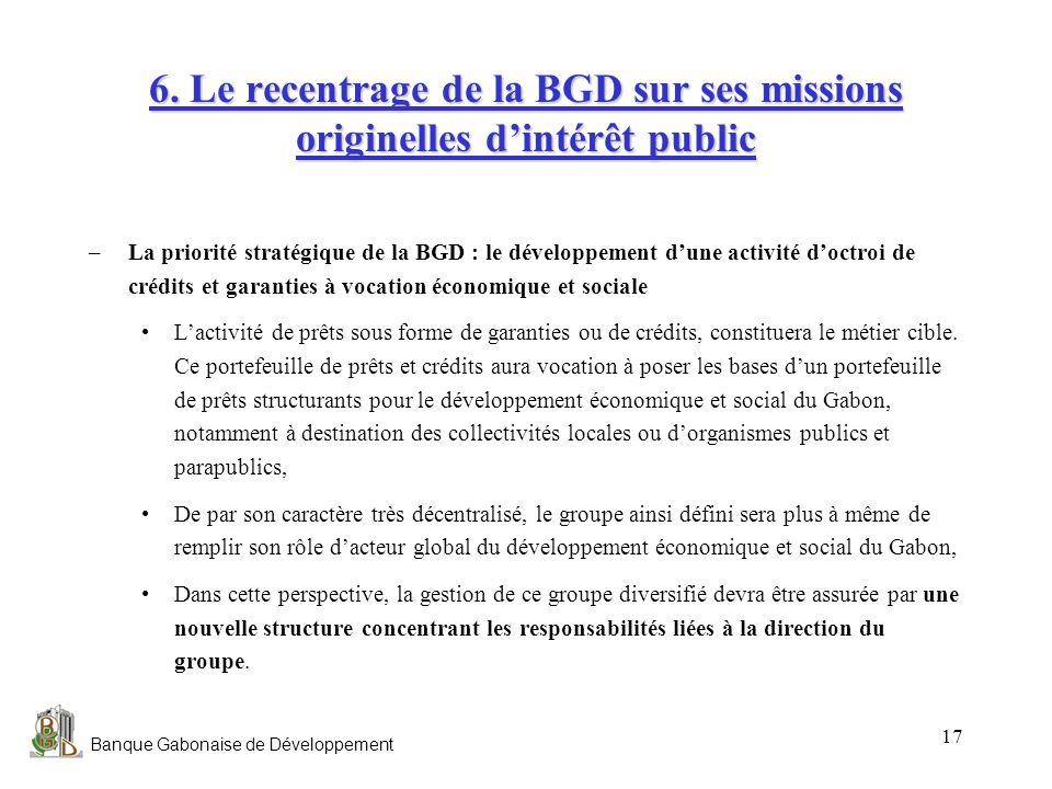 Banque Gabonaise de Développement 17 6. Le recentrage de la BGD sur ses missions originelles dintérêt public –La priorité stratégique de la BGD : le d